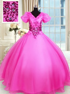 Ball Gowns 15 Quinceanera Dress Hot Pink V-neck Organza Short Sleeves Floor Length Lace Up