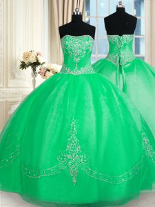 Beautiful Sleeveless Beading and Embroidery Lace Up Sweet 16 Dress