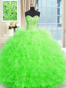 Latest Sleeveless Floor Length Beading and Ruffles Lace Up Quinceanera Dresses