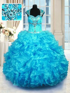 Aqua Blue Organza Lace Up Quince Ball Gowns Cap Sleeves Floor Length Beading and Ruffles