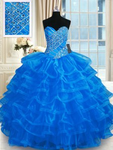 Admirable Blue Sweetheart Lace Up Beading and Ruffled Layers 15th Birthday Dress Sleeveless