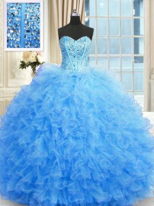 Enchanting Baby Blue Sweet 16 Dress Military Ball and Sweet 16 and Quinceanera and For with Beading and Ruffles Sweetheart Sleeveless Lace Up
