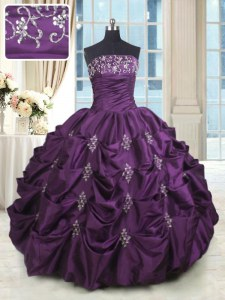 Beauteous Dark Purple Sleeveless Beading and Appliques and Embroidery and Pick Ups Floor Length Ball Gown Prom Dress