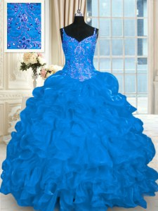 Blue Sleeveless Brush Train Beading and Embroidery and Ruffles and Pick Ups 15th Birthday Dress