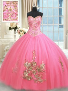 Sweetheart Sleeveless Tulle Sweet 16 Quinceanera Dress Beading and Appliques and Embroidery Lace Up