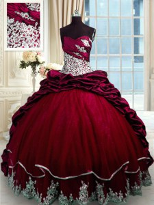 Discount Wine Red Ball Gowns Beading and Appliques and Pick Ups Ball Gown Prom Dress Lace Up Taffeta Sleeveless With Train