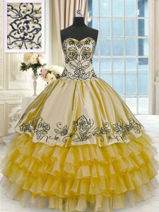 Admirable Ruffled Floor Length Ball Gowns Sleeveless Gold Quinceanera Gowns Lace Up