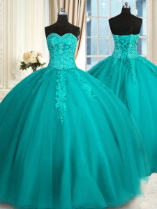 Colorful Ball Gowns 15th Birthday Dress Teal Sweetheart Tulle Sleeveless Floor Length Lace Up