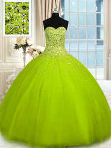 Perfect Olive Green Sleeveless Beading Floor Length 15th Birthday Dress