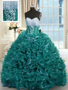 Custom Designed Turquoise Ball Gowns Sweetheart Sleeveless Organza With Brush Train Lace Up Beading and Ruffles Vestidos de Quinceanera