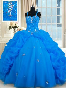 Blue Spaghetti Straps Lace Up Beading and Pick Ups Quinceanera Gowns Sleeveless