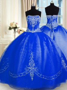 Royal Blue Ball Gowns Organza Strapless Sleeveless Beading and Embroidery Floor Length Lace Up Ball Gown Prom Dress