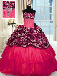 Sweet Ruffled Sweep Train Ball Gowns Sweet 16 Dress Red Strapless Organza and Printed Sleeveless Lace Up
