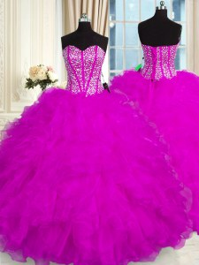 Sweet Sleeveless Beading and Ruffles Lace Up Quinceanera Dress