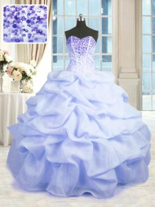 Latest Light Blue Ball Gowns Sweetheart Sleeveless Organza Floor Length Lace Up Beading and Ruffles Sweet 16 Dress