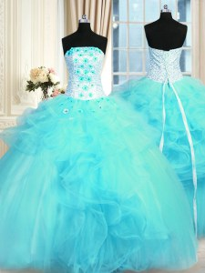 Pick Ups Ball Gowns Quinceanera Gowns Aqua Blue Strapless Tulle Sleeveless Floor Length Lace Up