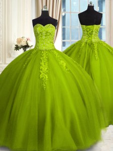 Adorable Sweetheart Sleeveless Tulle Quinceanera Dresses Embroidery Lace Up