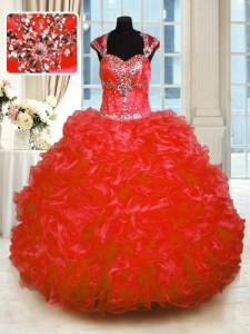 Dazzling Organza Cap Sleeves Floor Length Quinceanera Gowns and Beading and Ruffles