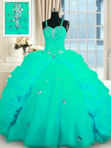 Modern Sleeveless With Train Beading and Ruffles Lace Up Quince Ball Gowns with Turquoise Sweep Train