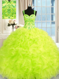 Yellow Green Sleeveless Floor Length Beading and Embroidery and Ruffles Lace Up Quinceanera Gown