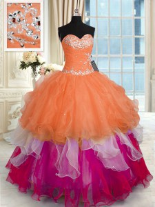 Glittering Sleeveless Organza Floor Length Lace Up Quince Ball Gowns in Multi-color with Beading and Ruffled Layers