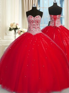 Adorable Red Tulle Lace Up Halter Top Sleeveless Quince Ball Gowns Beading and Sequins