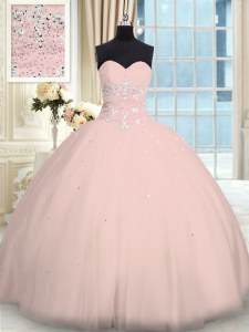 Sleeveless Tulle Floor Length Lace Up Quinceanera Dress in Pink with Beading
