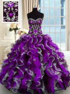 On Sale Multi-color Sleeveless Floor Length Beading and Appliques Lace Up Vestidos de Quinceanera