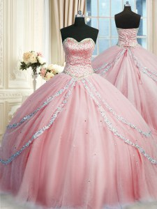 Discount Pink Sleeveless With Train Beading and Appliques Lace Up Sweet 16 Quinceanera Dress