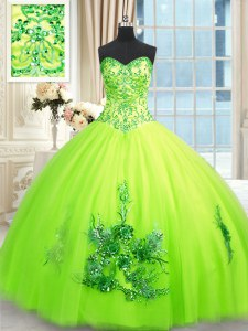 Yellow Green Tulle Lace Up Ball Gown Prom Dress Sleeveless Floor Length Beading and Appliques and Embroidery