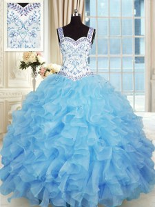 Baby Blue Ball Gowns Beading and Appliques and Ruffles Vestidos de Quinceanera Lace Up Organza Sleeveless Floor Length
