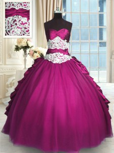 Sweetheart Sleeveless Taffeta and Tulle Quince Ball Gowns Beading and Lace and Ruching and Pick Ups Lace Up