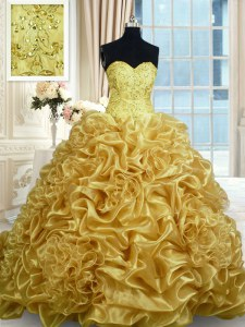 Trendy Gold 15 Quinceanera Dress Military Ball and Sweet 16 and Quinceanera and For with Beading and Pick Ups Sweetheart Sleeveless Sweep Train Lace Up