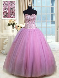 Noble Sweetheart Sleeveless Lace Up Quince Ball Gowns Lilac Organza