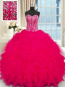Customized Sleeveless Beading and Ruffles Lace Up Vestidos de Quinceanera