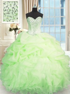 Discount Sweetheart Sleeveless Organza Quinceanera Dresses Beading and Ruffles Lace Up