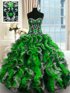 High Quality Organza Sweetheart Sleeveless Lace Up Beading and Ruffles Quinceanera Dress in Multi-color