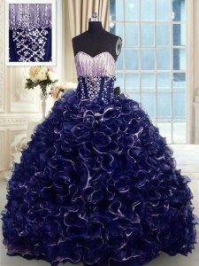 With Train Ball Gowns Sleeveless Navy Blue 15 Quinceanera Dress Brush Train Lace Up