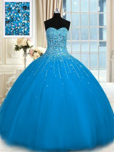 Cute Teal Tulle Lace Up Sweetheart Sleeveless Floor Length Quinceanera Dress Beading and Ruffles