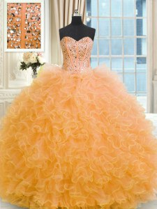 Orange Sleeveless Beading and Ruffles Floor Length 15 Quinceanera Dress