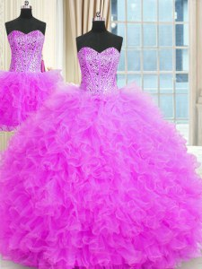 Free and Easy Three Piece Lilac Sleeveless Floor Length Beading and Ruffles Lace Up Sweet 16 Quinceanera Dress