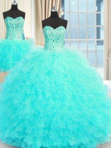 Three Piece Floor Length Aqua Blue 15th Birthday Dress Tulle Sleeveless Beading and Ruffles