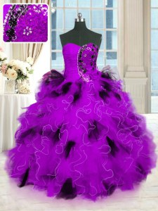 Multi-color Ball Gowns Strapless Sleeveless Tulle Floor Length Lace Up Beading and Ruffles 15 Quinceanera Dress