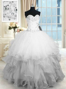 White Ball Gowns Sweetheart Sleeveless Organza Floor Length Lace Up Beading and Ruffles Quince Ball Gowns