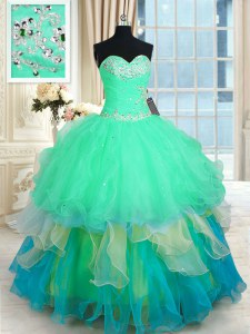 Dramatic Multi-color Lace Up Quinceanera Gown Beading and Ruffles Sleeveless Floor Length
