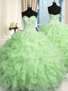 Smart Sleeveless Floor Length Beading and Ruffles Lace Up Sweet 16 Dress with