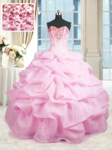 Charming Sleeveless Organza Floor Length Lace Up Ball Gown Prom Dress in Pink with Beading and Ruffles