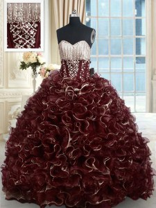 High End Organza Sweetheart Sleeveless Brush Train Lace Up Beading and Ruffles Ball Gown Prom Dress in Brown