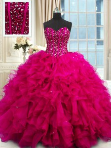 Chic Sleeveless Lace Up Floor Length Beading and Ruffles and Sequins Sweet 16 Dress