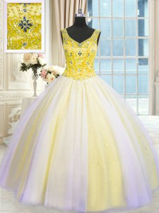Comfortable Floor Length Lace Up Sweet 16 Dresses Multi-color for Military Ball and Sweet 16 and Quinceanera with Beading and Sequins